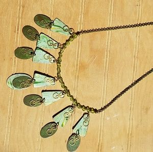 Jewelry - Fun boho necklace in metal green tones
